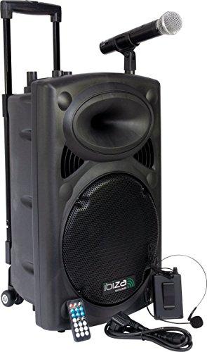 Ibiza Sound PORT12VHF- BT Sistema de sonido portátil y autónomo de 12'/30 cm, USB, Bluetooth, 700 W, Negro